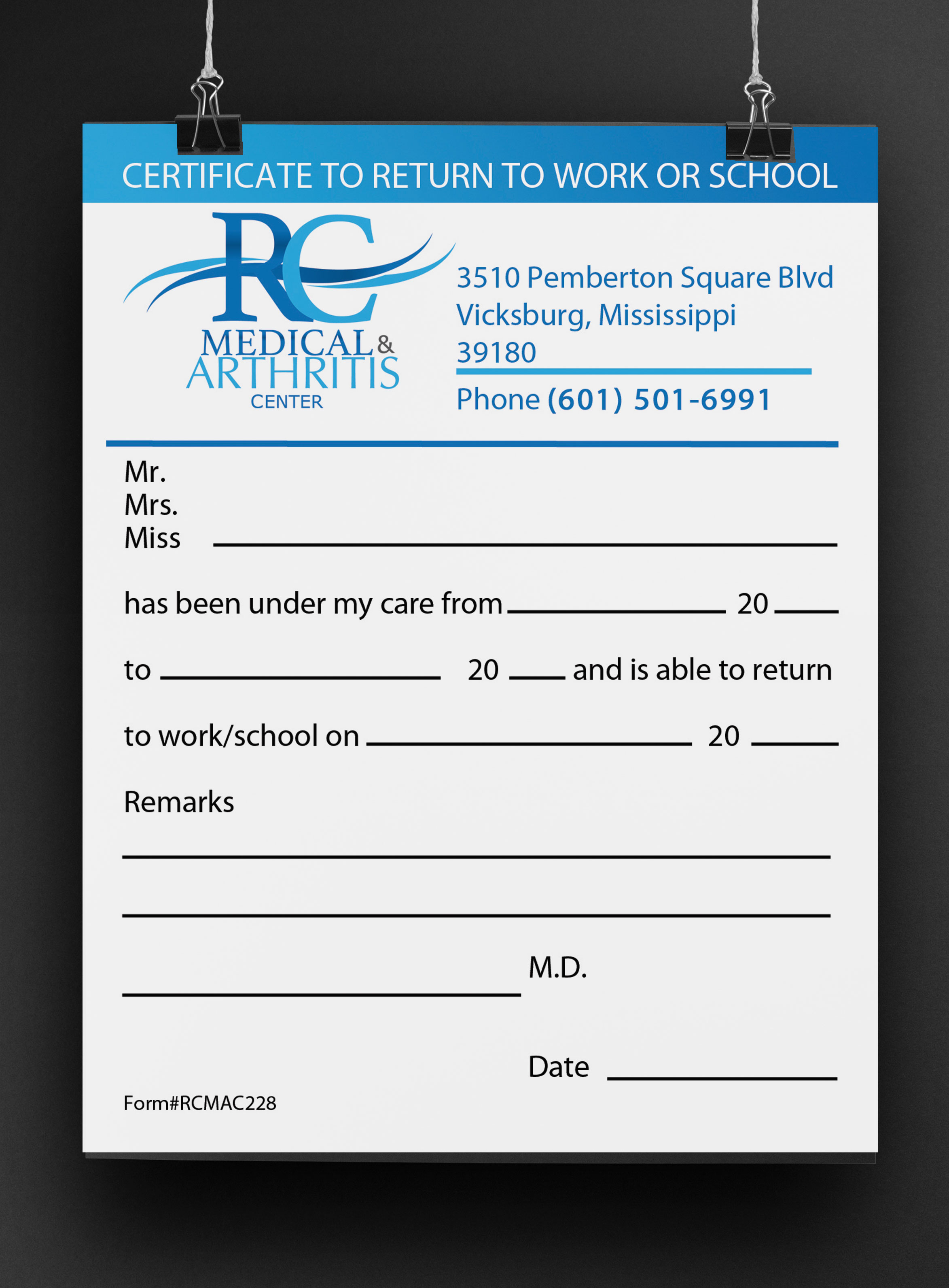 Medical Brand Design Patient Forms for River City Medical by Cordavii Brand Consulting