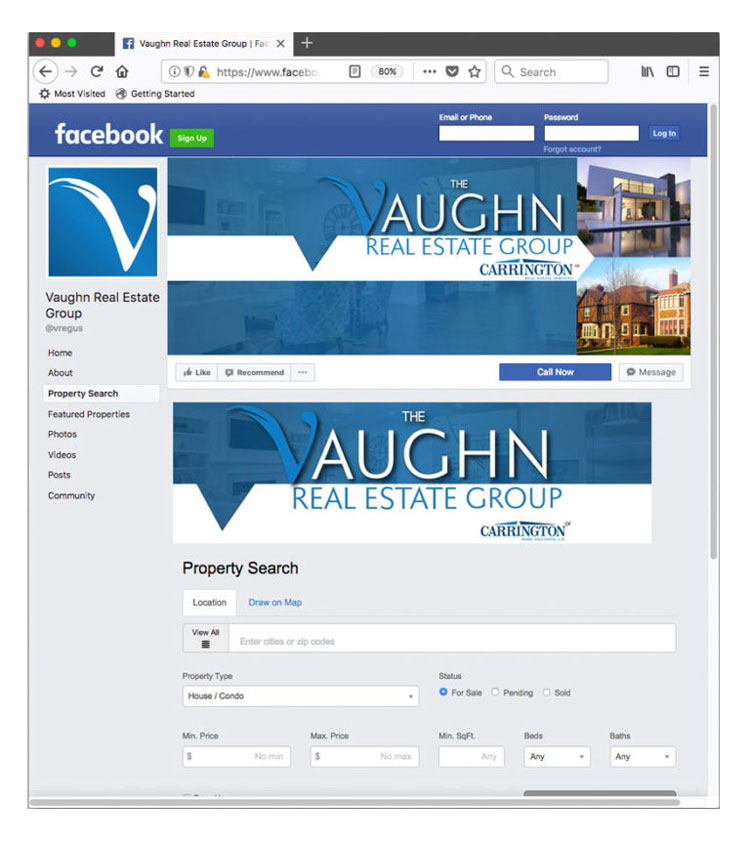 Real Estate Facebook Page for the Vaughn Real Estate Group