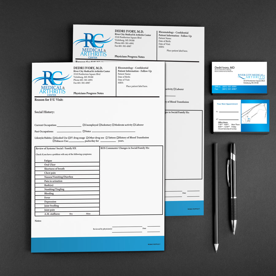 River City Medical & Health Care Brand Design Patient Info Sheets