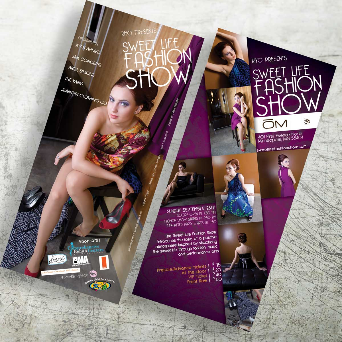 Sweet Life Fashion Show Flyer Design front and back
