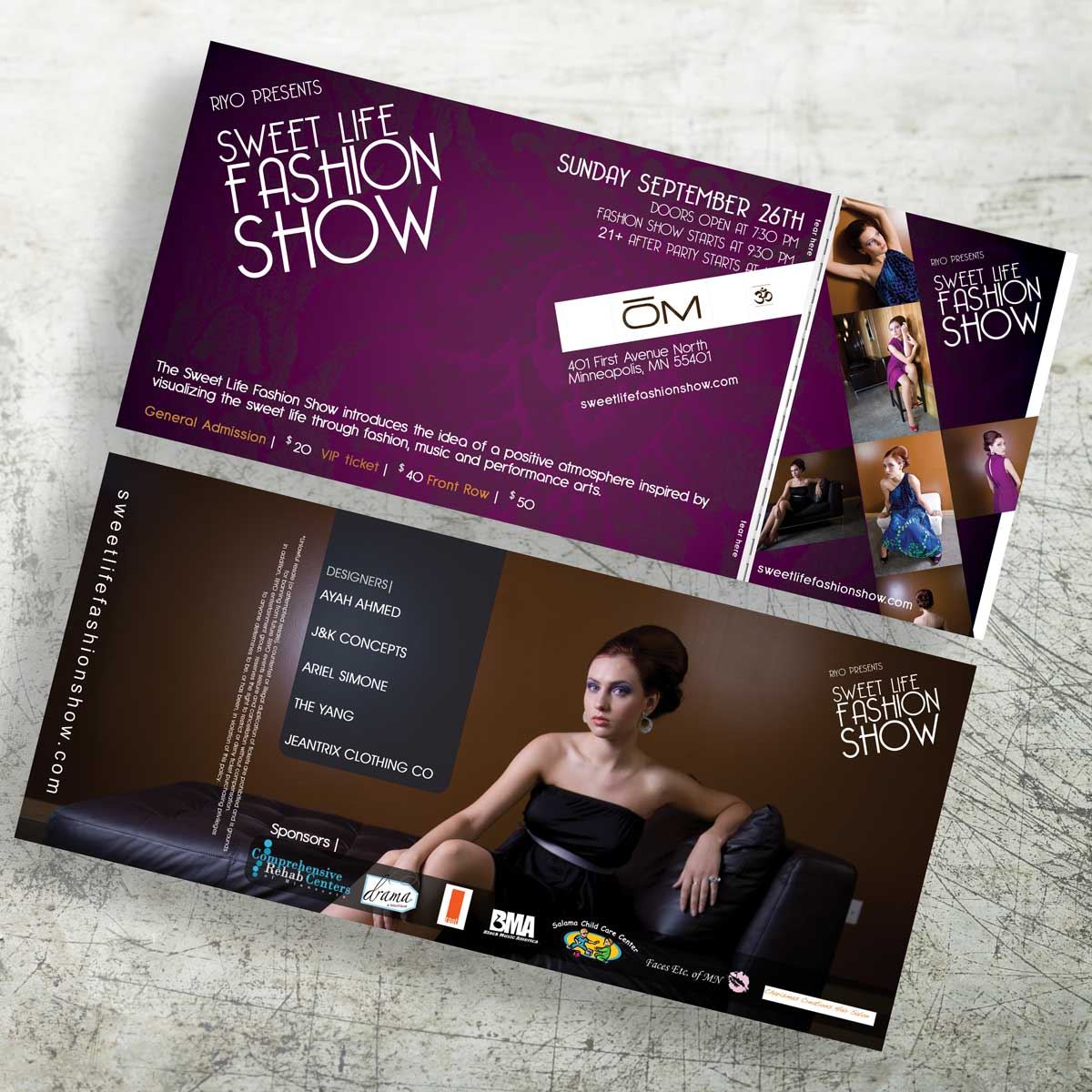 Sweet Life Fashion Show General Admission Ticket Design