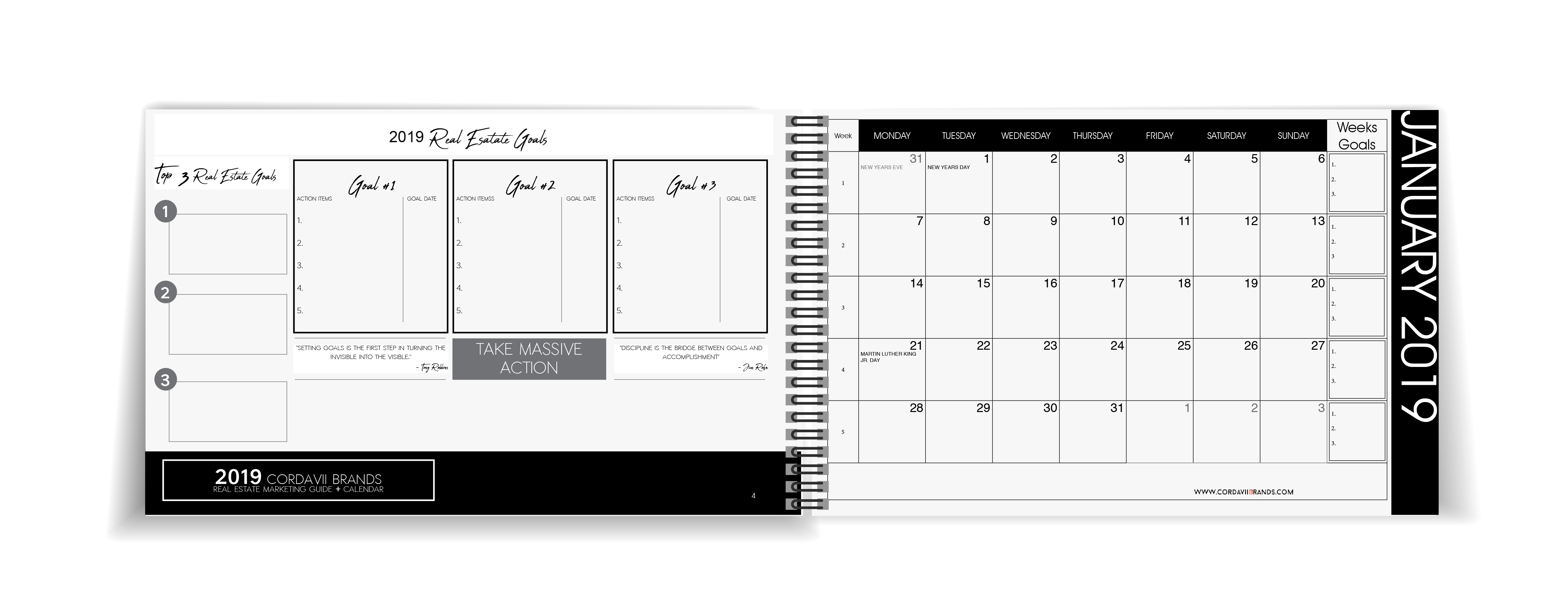 Cordavii 2019 Real Estate Marketing Calendar inside sample coevers